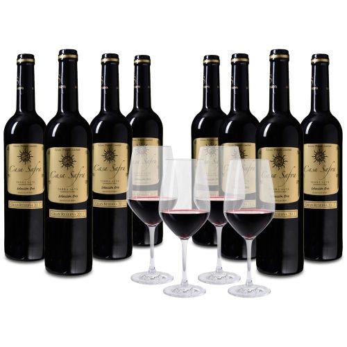 Wijnpakket Casa Safra Oro 8 flessen + 4 glazen