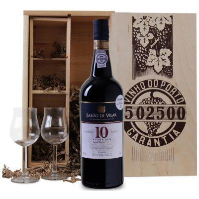 Wijnkist 10 jaar oude Port met twee glazen