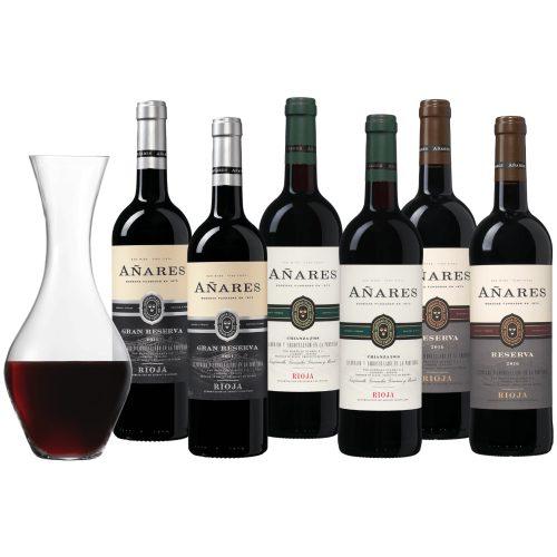 Wijnpakket Añares Rioja - 6 flessen + karaf