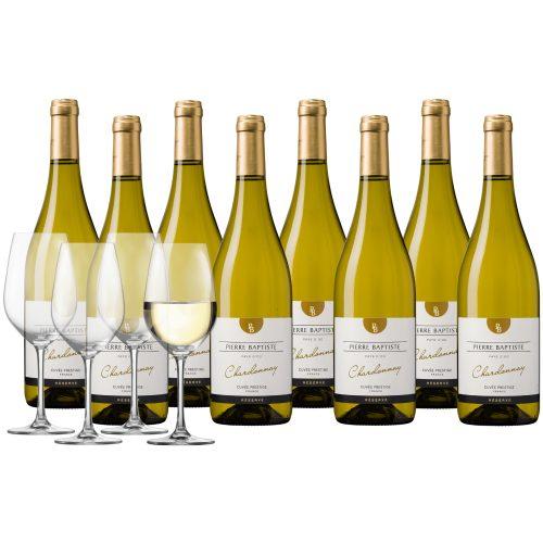 Wijnpakket Pierre Baptiste Reserve Chardonnay Pays d'Oc 8 flessen + 4 glazen