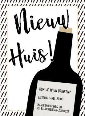Housewarming uitnodiging   Hip Strepen Wijn