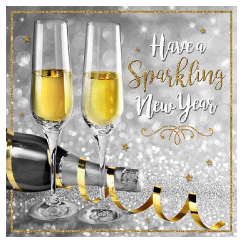 Nieuwjaarskaart   TMS Champagne Goud