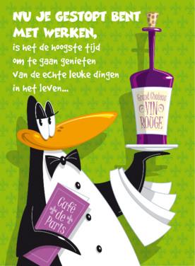 Pensioen kaart   Pinguïn Wijn Groen Tekening
