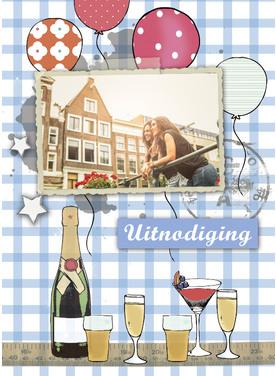 Uitnodiging met ballonnen, wijn en foto