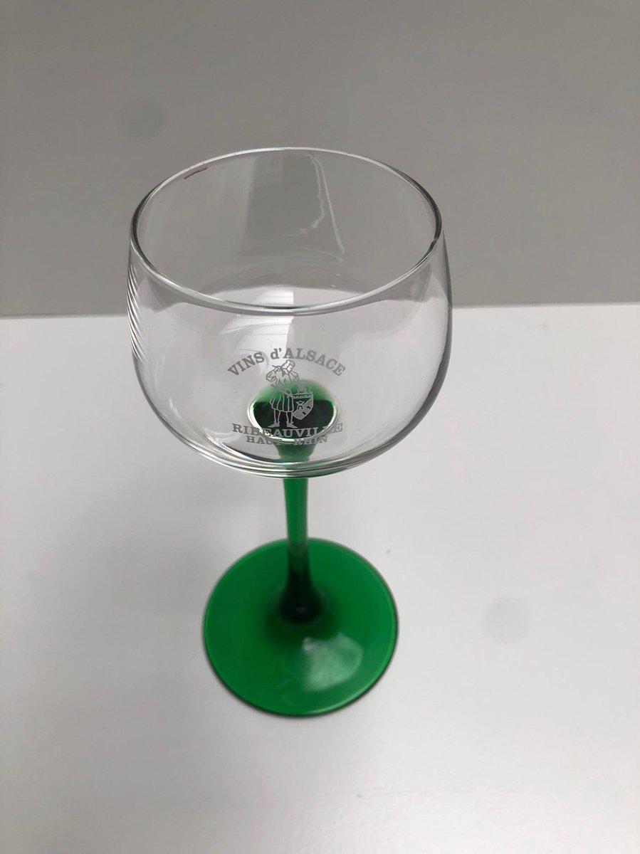 3x 16cl moezelglas groene voet moselglas moezelglazen opdruk vins d'alsace ribeauville haut rhin
