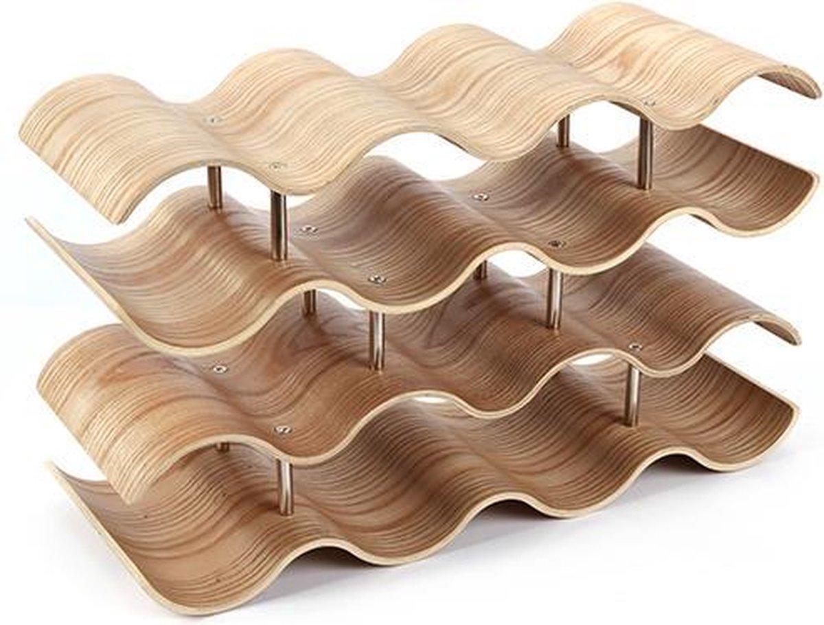 4cookz® Design Wijnrek Wilg voor 14 flessen - 15x42x24,5 cm