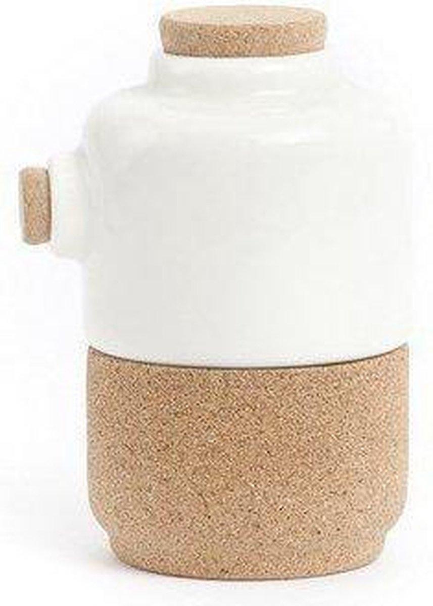 Amorim Cork Soulmate The Whistler Suiker of Melk Pot - Kurk/Keramiek - 8,6 x 7,2 x 11 cm - Wit