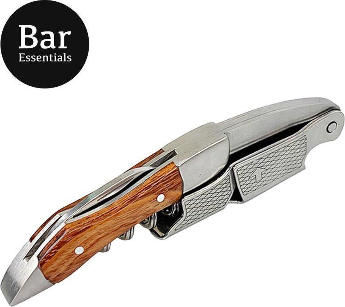 Bar Essentials Heavy Duty Kelnersmes met gesleufde groef - Kurkentrekker wijn - Wijnopener - Sommelier - Giftbox