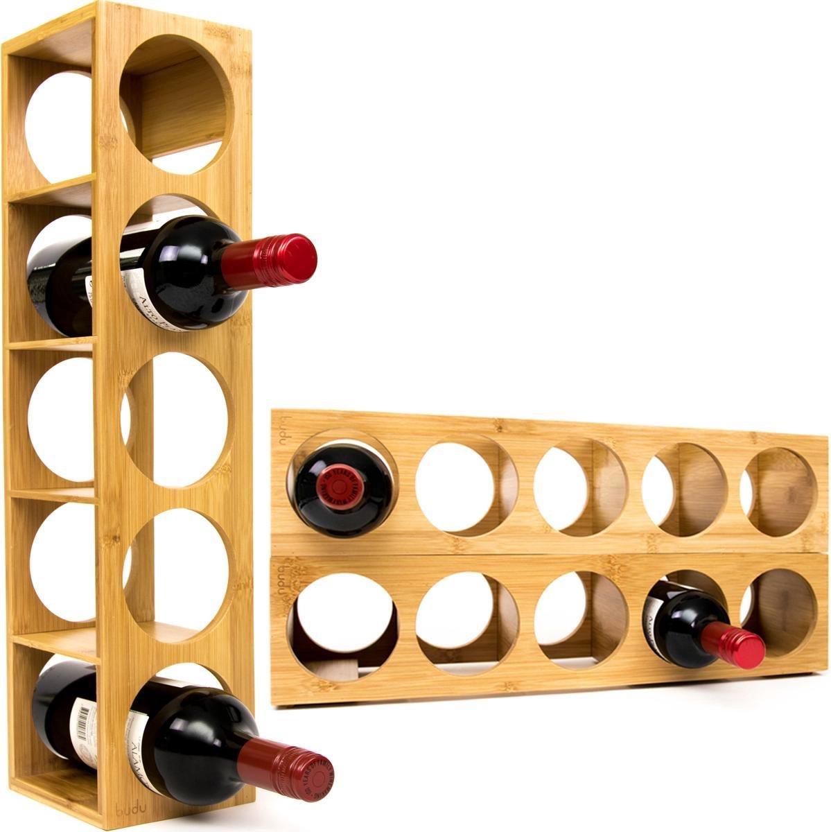 Budu Wijnrek Bamboe 5 flessen - Wijnrek hout - Stapelbaar - Uitbreidbaar - Houten wijnrek - Flessenrek - Bamboe wijnrekken - Wijnrek staand - Wijnfleshouder