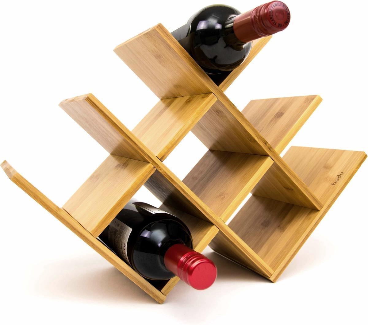 Budu Wijnrek Bamboe 8 Flessen - Wijnrek Hout - Houten Wijnrek - Flessenrek - Bamboe Wijnrekken - Wijnrek Design - Wijnfleshouder