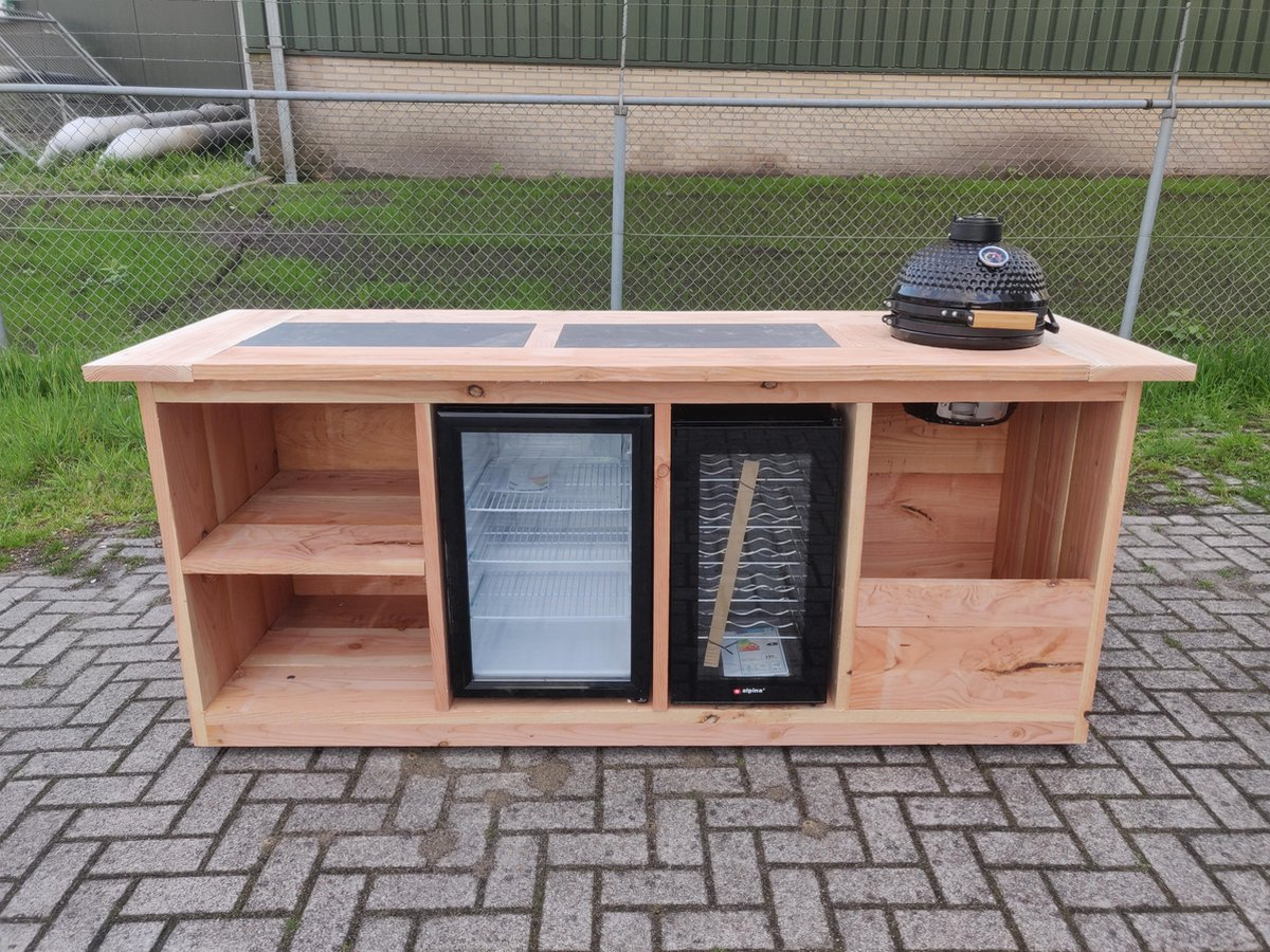 "Buitenkeuken - ""Amsterdam"" - Buitenkeukendeal - koelkast 68 liter - wijnkoelkast 50 liter - Douglas - kamado"
