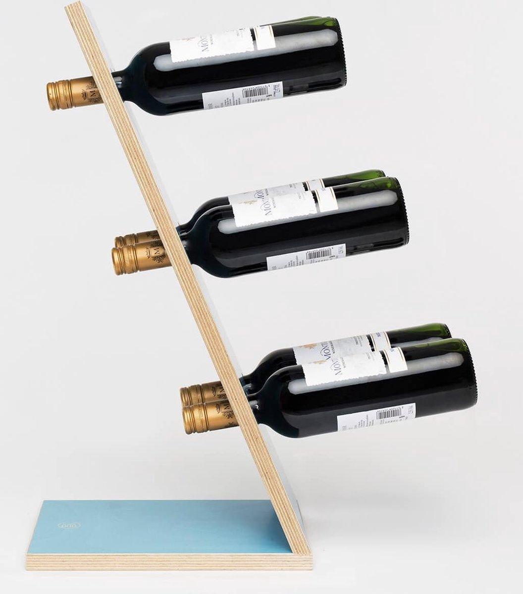 Compact Six Blue Wijnrek - Klein staand flessenrek van hout voor 6 wijnflessen met een uniek en modern design