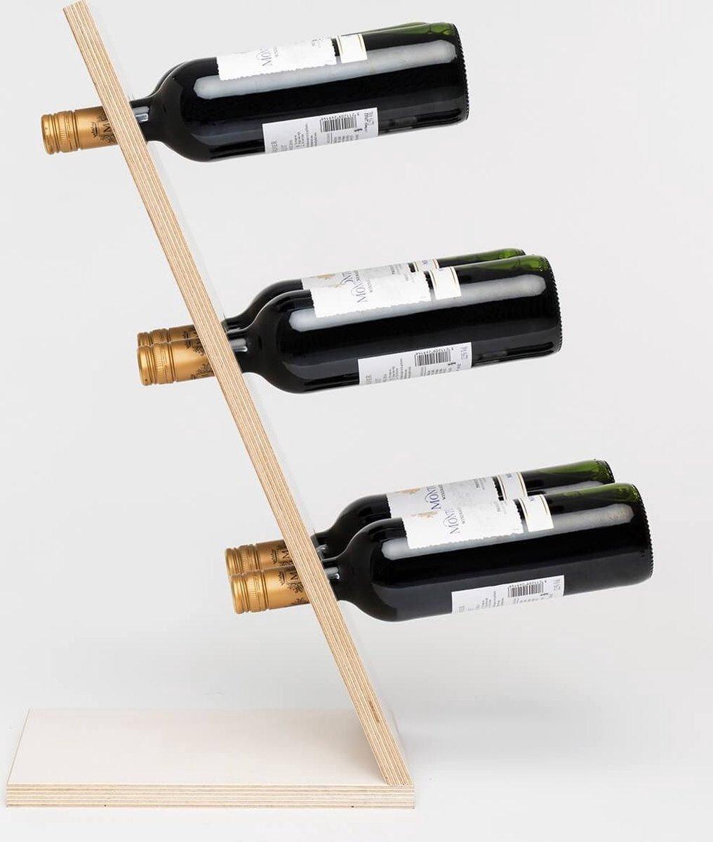 Compact Six White Wijnrek - Klein staand flessenrek van hout voor 6 wijnflessen met een uniek en modern design