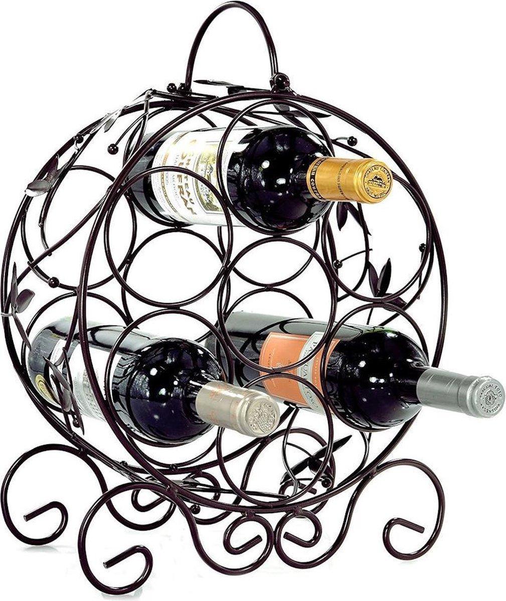 Decopatent® Staand Rond Wijnrek met Wijn Bladeren - Flessenrek voor 7 wijnflessen - Wijnrekken wijn flessen - Wijnrekje - Metaal