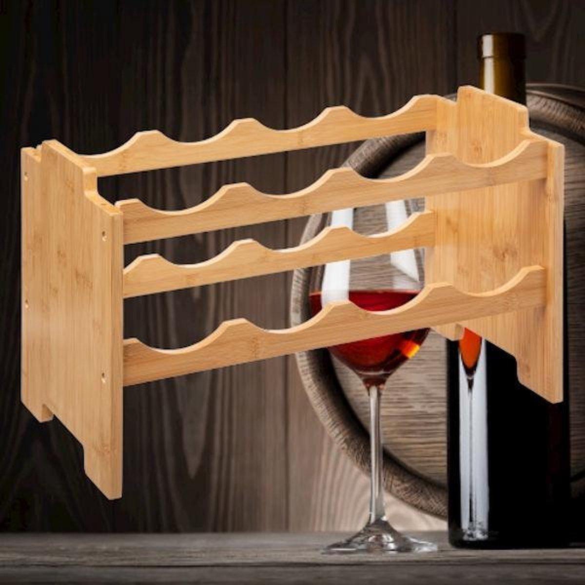 Decopatent® Wijnrek van bamboe hout voor 8 flessen wijn - Staand en stapelbaar wijnrek - Mooi wijnflessenrek voor 8 wijnflessen