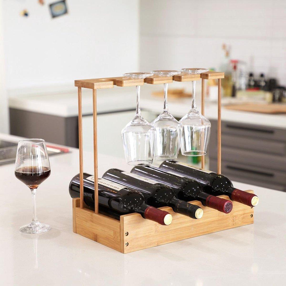 Decopatent® Wijnrek voor 4 flessen wijn en 4 wijnglazen - Bamboe - Hout - Design wijnrek - Wijnflessenrek - Flessenrek met wijnglashouder