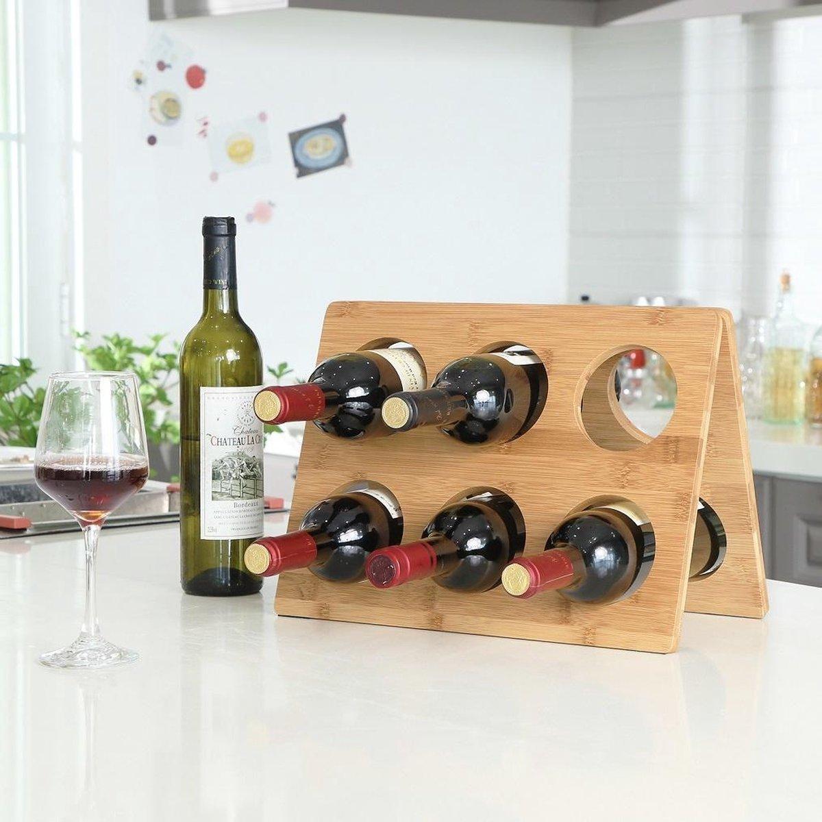 Decopatent® Wijnrek voor 6 flessen wijn - Design wijnrek - Chique -Bamboe - Hout - Wijnflessenrek - Flessenrek - Wijnflessen