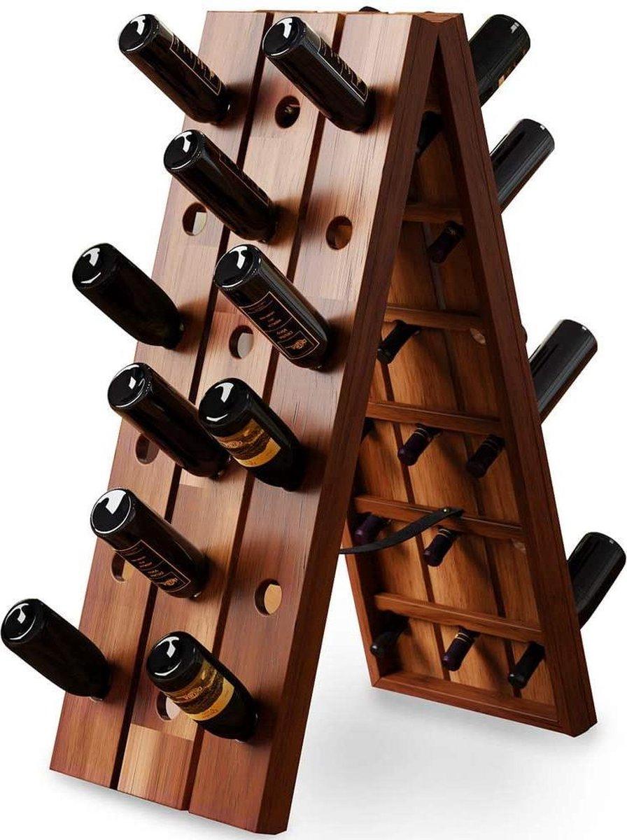 Deuba Wijnrek voor 36 flessen 55x36x87cm   Houten flessenrek opvouwbaar   Rustieke wijnkast van acaciahout   Stabiele vrijstaande wijnflessen kast   Stijlvol design