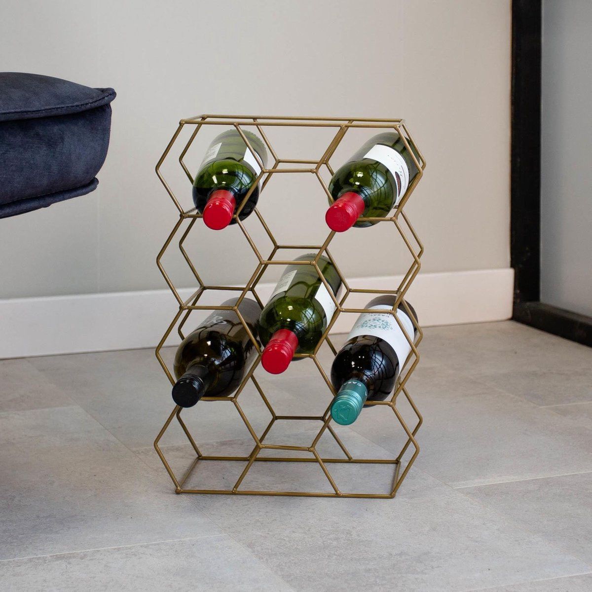 Dimehouse Industriële Wijnrek Amore - Goud - Metaal
