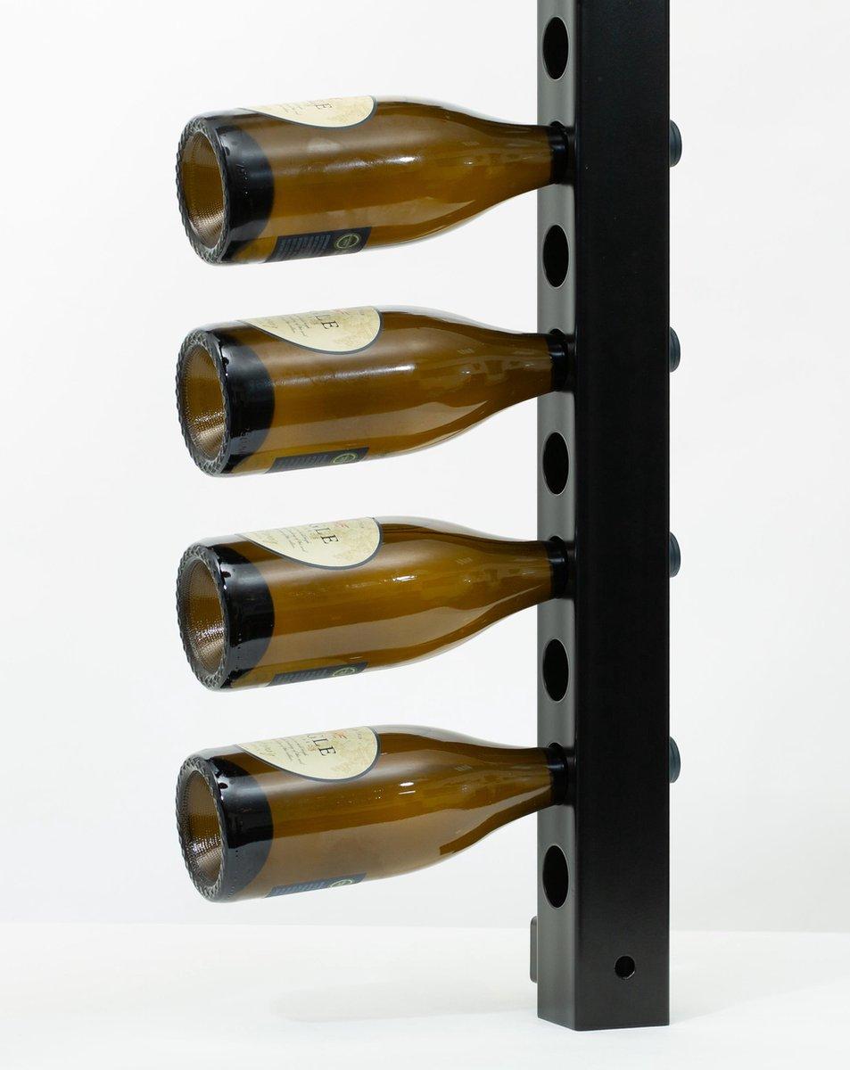Ferro Duro - wijnrek voor aan de muur - zwart - geschikt voor 10 flessen - flessenrek