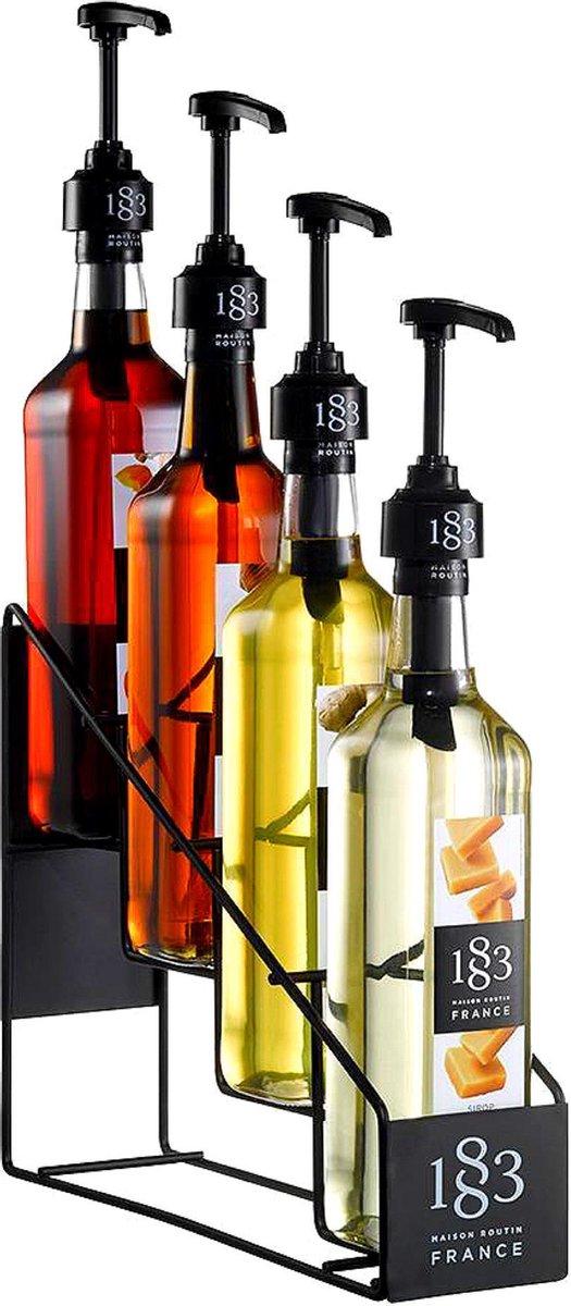 Flessenrek - Zwart - Metaal - Display rek - 1 Liter flessen - Flessen houder - Flessen rek voor siropen - 4 flessen