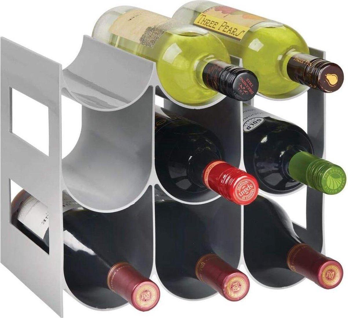 Flessenrek - wijnrek - waterflessen/wijnflessen - met 3 etages en 9 houders - voor aanrechten, voorraadkasten en koelkasten - grijs