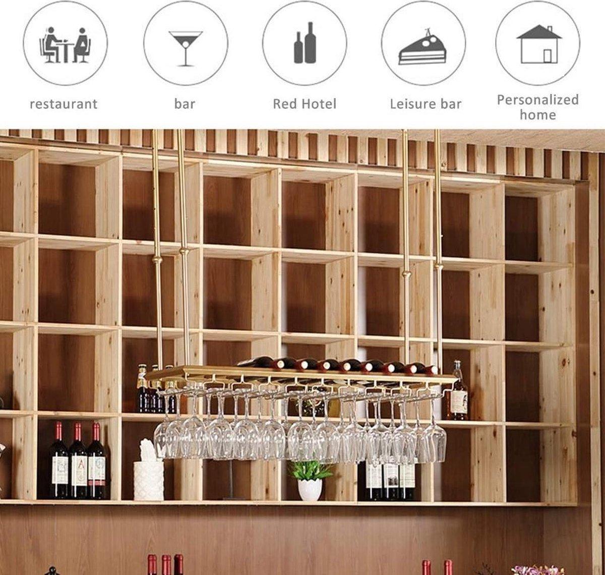 GMIN Metalen Wijnrek Plafonddecoratie Plank Wijnfles Display Rack voor Keuken Eetkamer Wijnkelder Bar A+++ (Kleur: Bruin, Maat: Lengte:120)