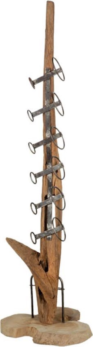 Gave industriële teak houten wijnrek - Yara Teak Wijnrek - Flessenhouder voor 6 flessen - Houten staander met metalen houders