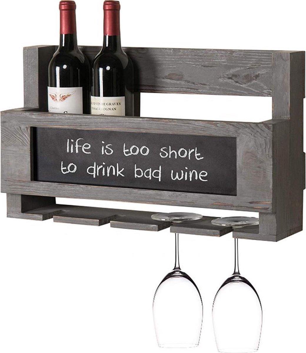 Greenure Wijnrek Hout - Wijnrek - Wijnglazenhouder - Flessenhouder - Wijnrek Muur- Krijtbord - Handgemaakt Stijlvol Design - Grijs - 50 x 30 x 13