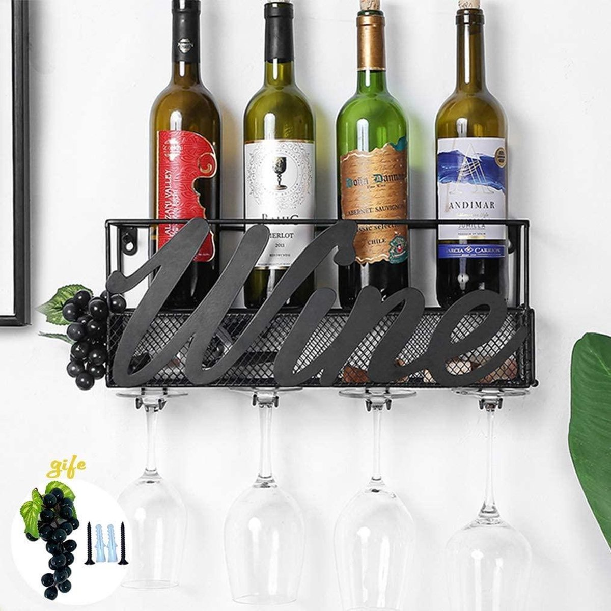 HN® - wandgemonteerd wijnrek, decoratieve wandgemonteerde metalen wijnflesdoos voor muur / flessenhouder / glas / decor voor huis en keuken - wijn