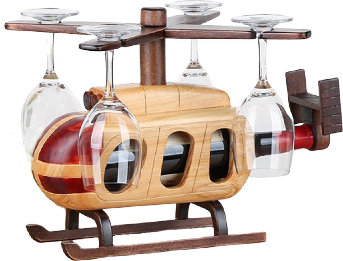 Helikopter Wijnrek - Wijnrek Hout - Wijnglazenhouder - Wijnfleshouder - Flessenrek - Wijnglazen Rek