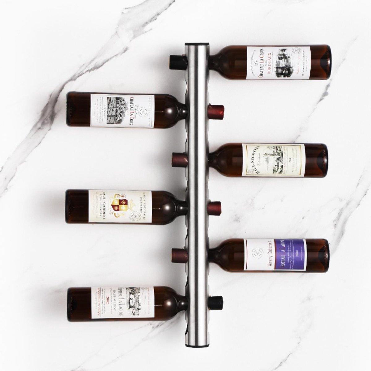 Homeson Wijnrek - Wijnhouder - Wijnflessen houder - Ophangen aan de muur - 8 Flessen/Gaten - 8 Gaten