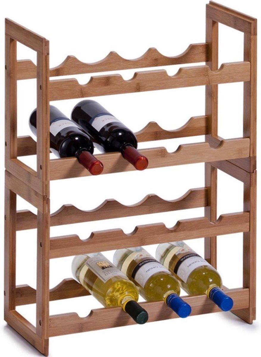 Houten wijnflessen rekken/wijnrekken stapelbaar voor 16 flessen 47 cm - Zeller - Keukenbenodigdheden - Woonaccessoires/decoratie - Wijnflesrekken/wijnflessenrekken/wijnrekken - Rek/houder voor wijnflessen
