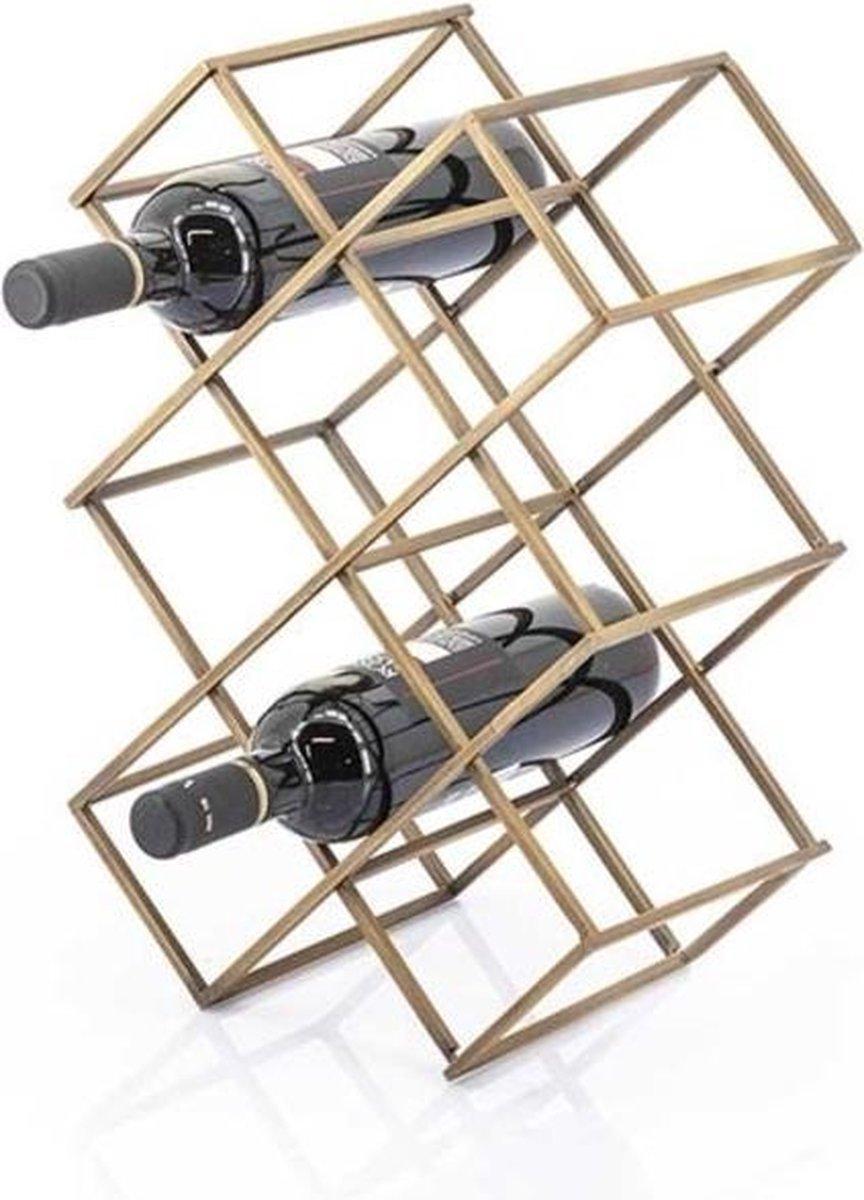 Industrieel Staand Wijnrek - Wijnrek - Wijnrek Van Metaal - Wijnen - Wijnrekje - Wijn - Wijnfles - Wijnkelder - Cadeau - Wijnfleshouder - Wijnhouder - Industrieel - Metaal - Goud - 42 cm breed