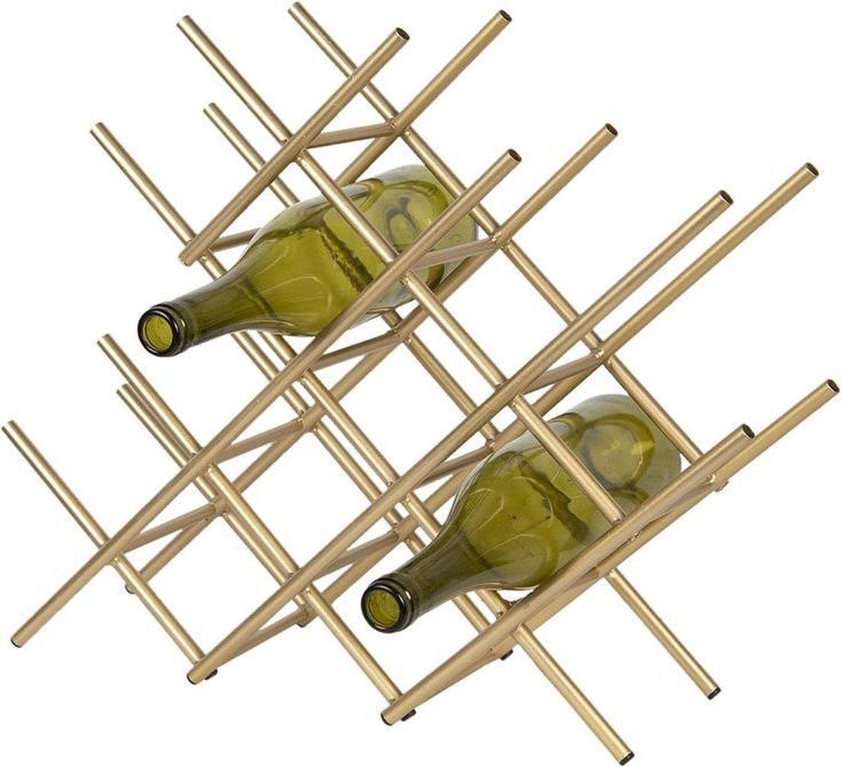 Industrieel Staand Wijnrek - Wijnrek - Wijnrek Van Metaal - Wijnen - Wijnrekje - Wijn - Wijnfles - Wijnkelder - Cadeau - Wijnfleshouder - Wijnhouder - Industrieel - Metaal - Goud - 47 cm breed