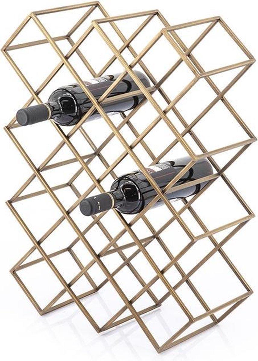 Industrieel Staand Wijnrek - Wijnrek - Wijnrek Van Metaal - Wijnfleshouder - Wijnkelder - Wijnhouder - Wijn - Wijnen - Wijnfles Houder - Wijnfles - Industrieel - Metaal - Goud - 57 cm hoog