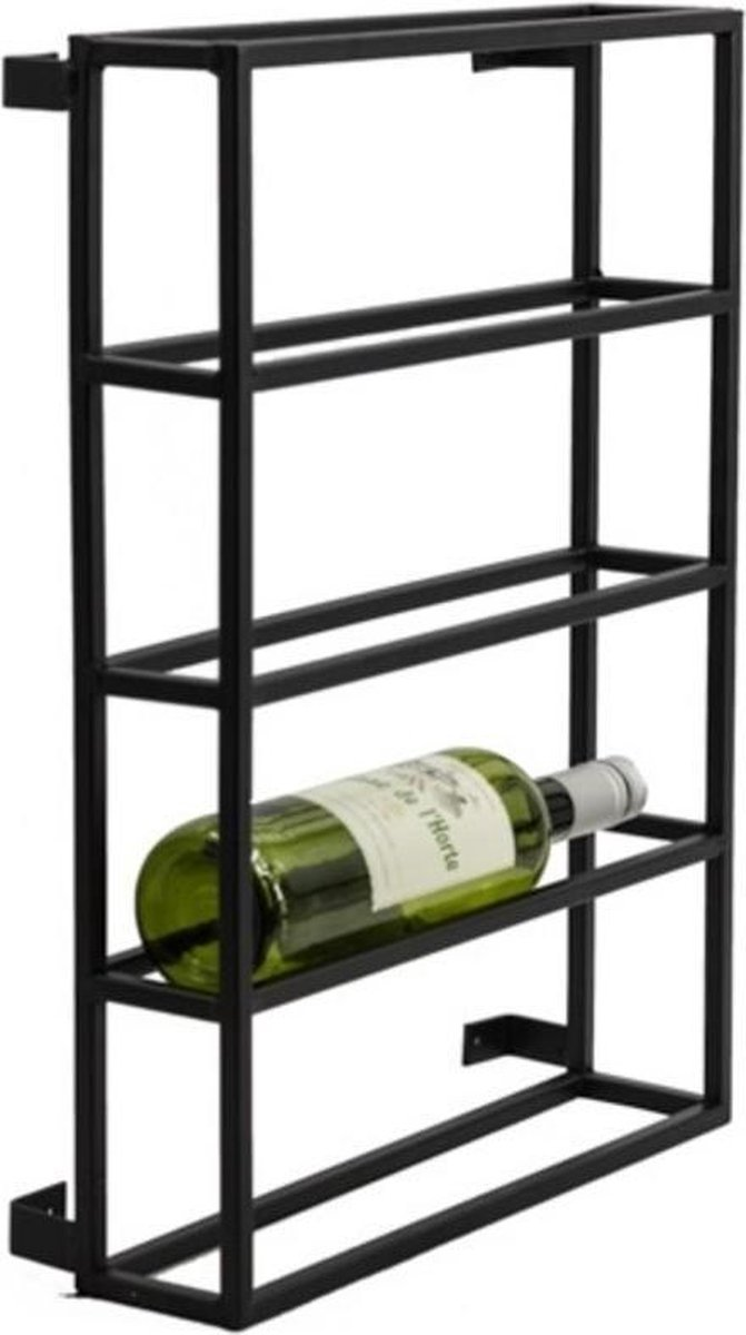 Industrieel Wijn Wandrek Van Metaal - Wandrek - Wijnrek - Wandplank - Wijnkelder - Wijnrek Voor Aan De Muur - Restaurant - Wijn - Wijnen - Wijnflessen Rek - Rek - Wijnfles Rek - Metaal - Industrieel - Zwart - 50 cm hoog