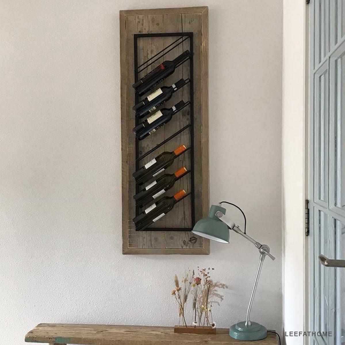 Industrieel wijnrek - 8 flessen - steigerhout - formaat 46 x 126 x 14 cm.