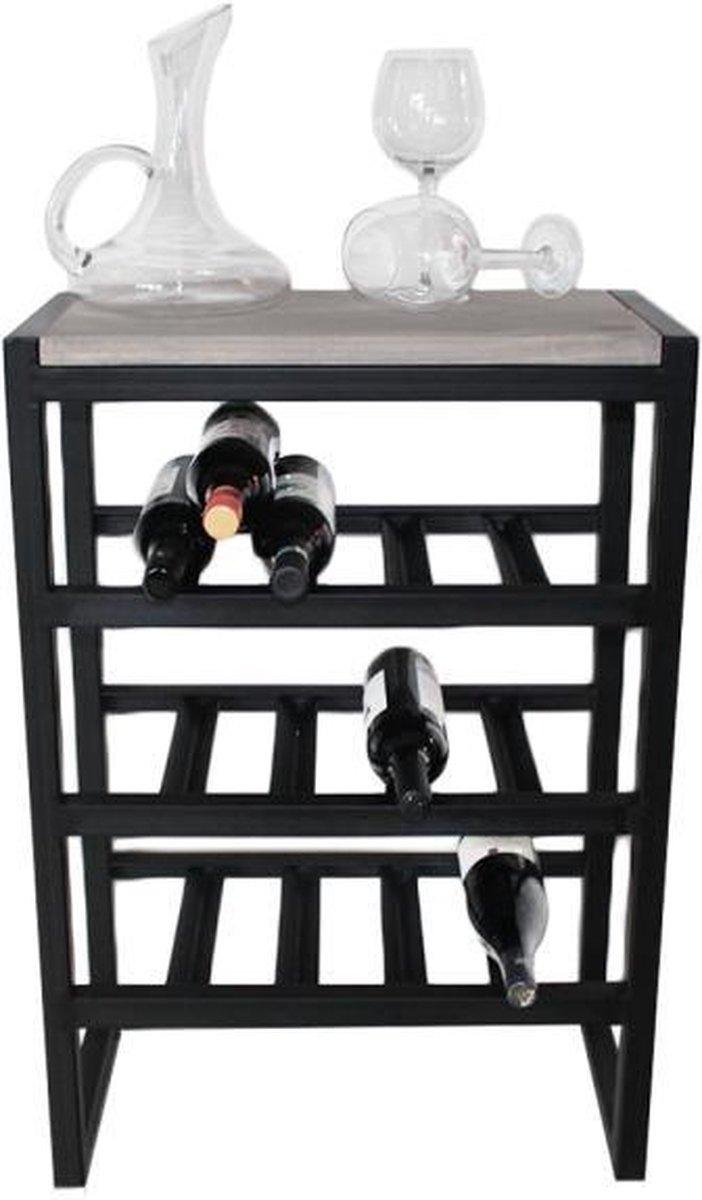 "Industriële wijnrek hout en metaal ""Carneros"" - 50 x 30 x 70 cm"