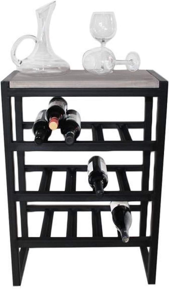 "Industriële wijnrek hout en metaal ""Carneros"" - 80 x 30 x 88 cm"