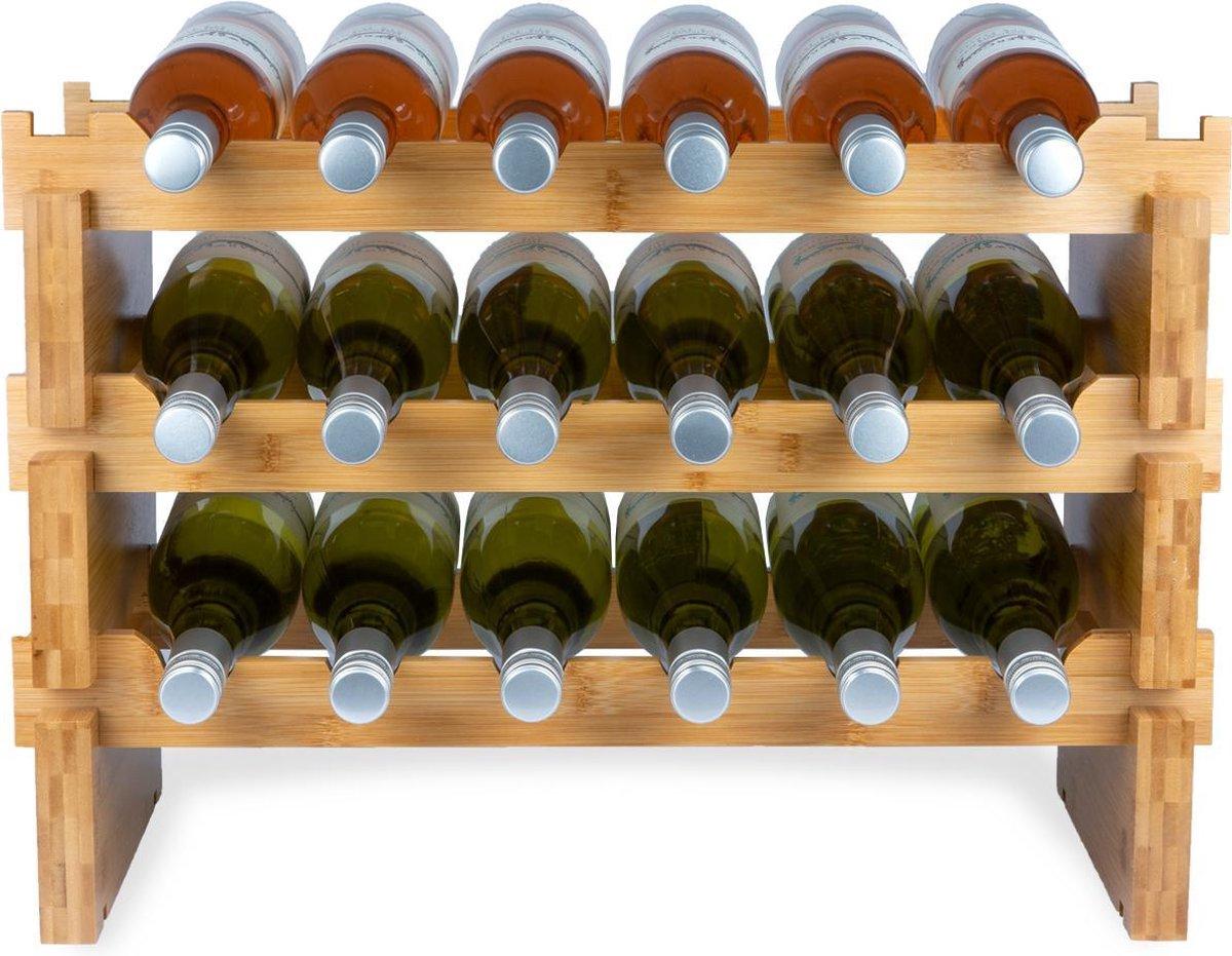 KitchenBrothers Bamboe Wijnrek Voor 18 flessen - 3 Delig Stapelbaar Bamboo Flessenrek - 58,5 x 28,5 x 40,5cm - Blank Hout