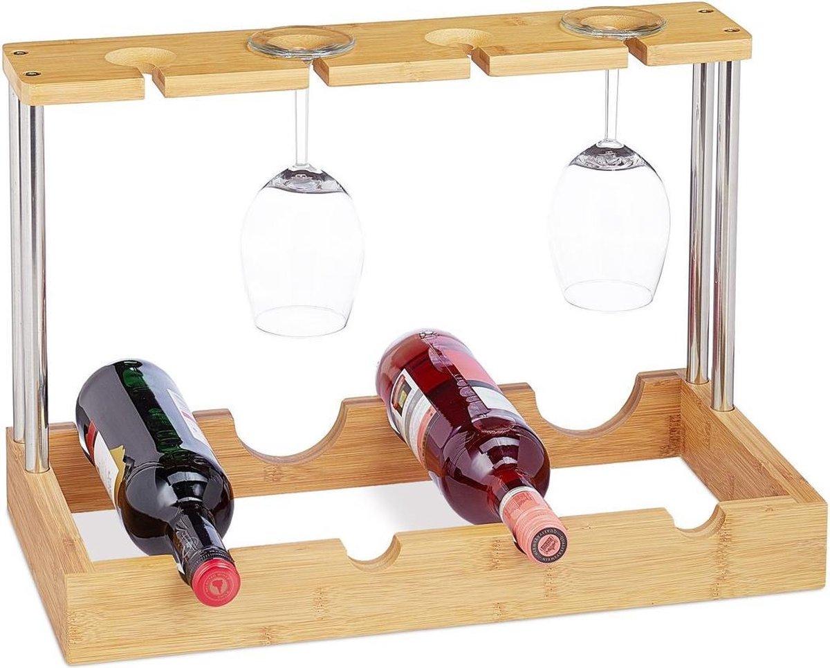 Life Deals® Bamboe Wijnrek Voor 4 Flessen & Wijnglazen - Flessenhouder Staand - Blank Hout - Houten Wijnhouder