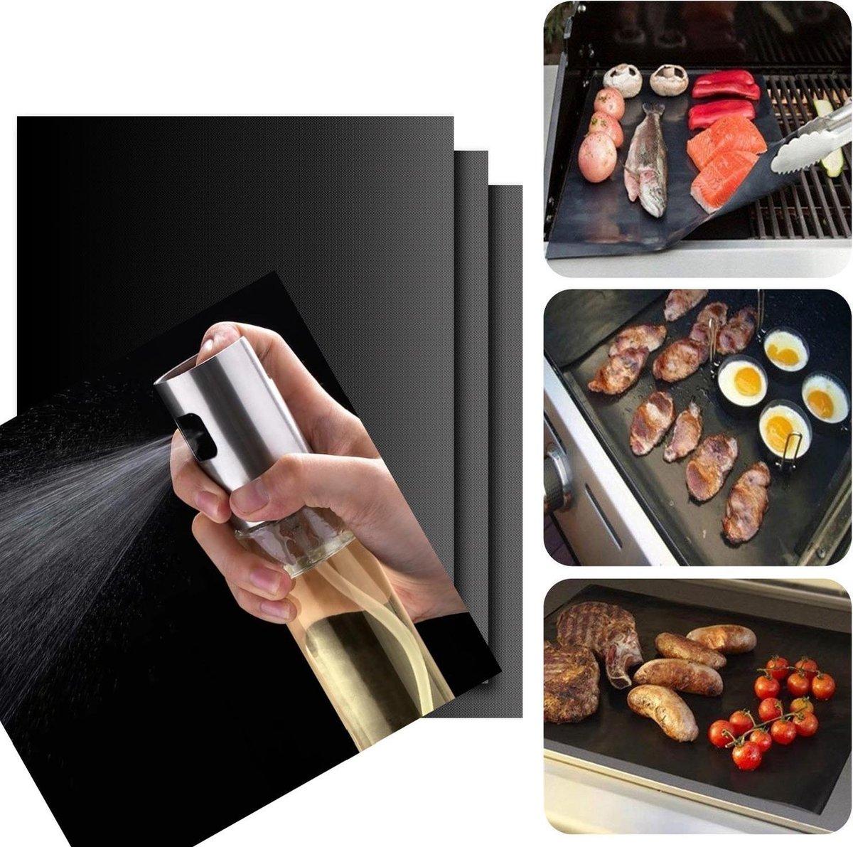 LifeLoom® 3 stuks Grill Mat BBQ Mat met 1x Olijfolie verstuiver - Olijfolie fles - bbq folie met olijfolie flesje.