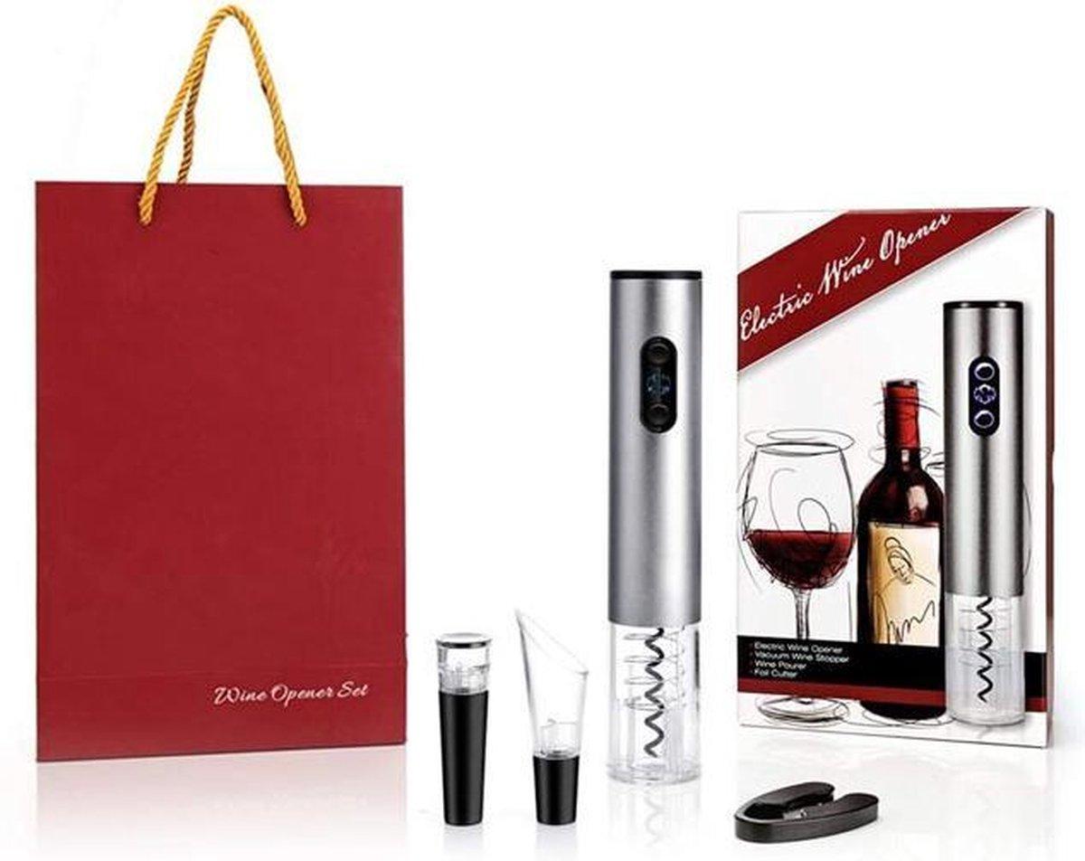 Luxe elektrische wijnopener complete cadeauset   kurkentrekker automatisch   Oplaadbaar Wijnopener   Incl. Cadeautas   Zilver   Verjaardag   Moederdag   Vaderdag   Huwelijk