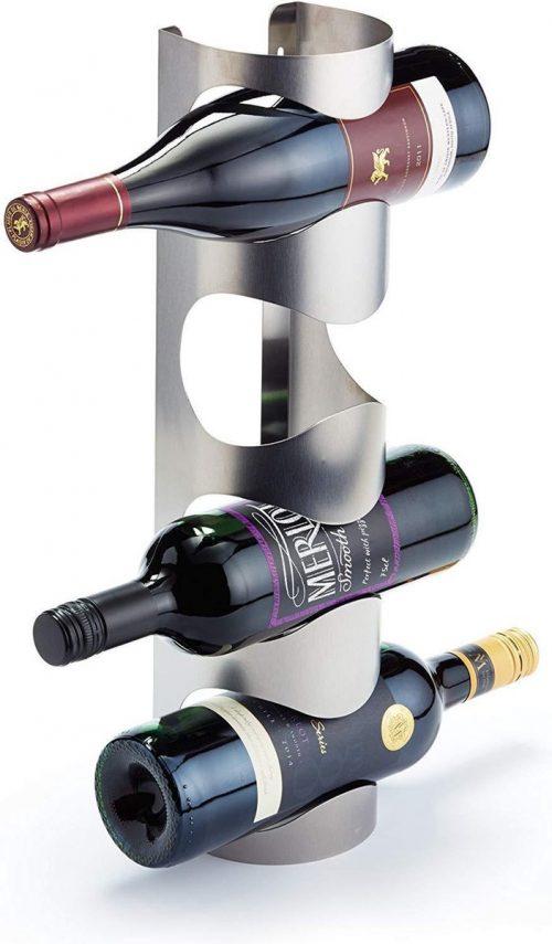 Luxe wijnrek van Zwart RVS met plek voor 4 flessen 10x11x45cm   Wandrek met zacht modern design voor elk interieur   Duurzaam materiaal   Stevig wijnrek met een eenvoudige montage