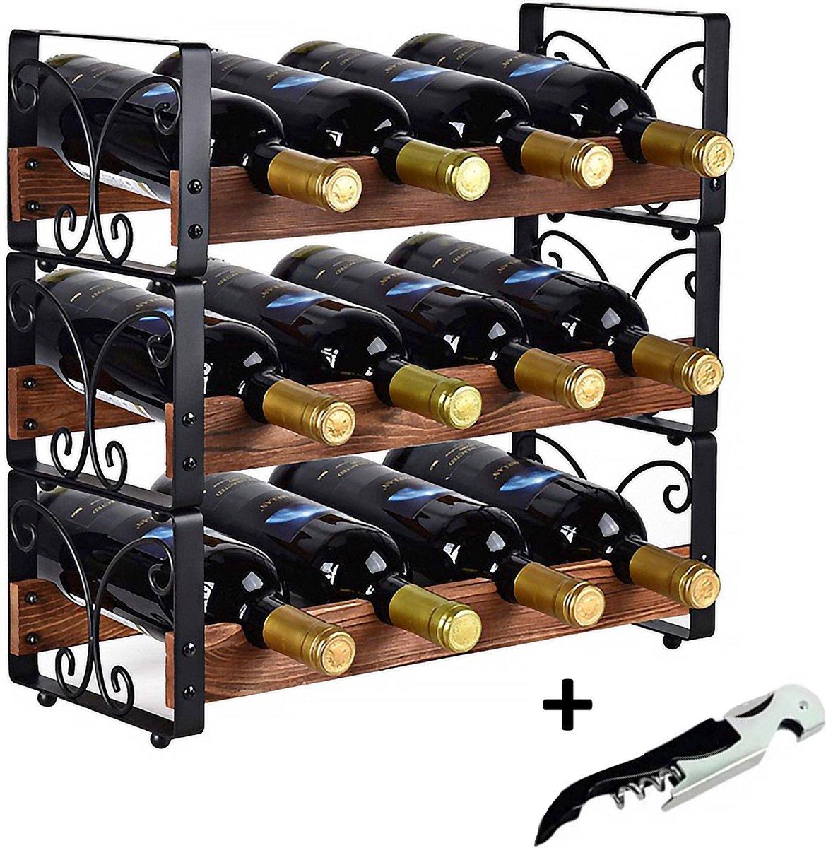 Luxergoods Wijnfleshouder - Wijnrek - Gratis Wijnflesopener - Voor 12 flessen - 3 Delig Stapelbaar Olijvenhout Flessenrek - Hout