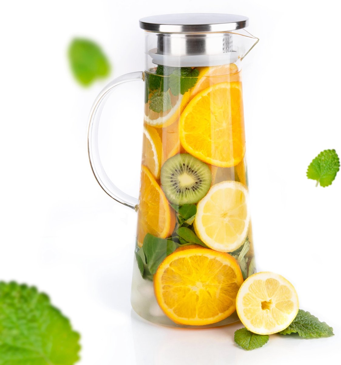 MÊZON® Glazen Waterkan - Waterkaraf voor Fruitwater - Multifunctionele Decanteer Karaf - Kan met Deksel - 1.5L Capaciteit