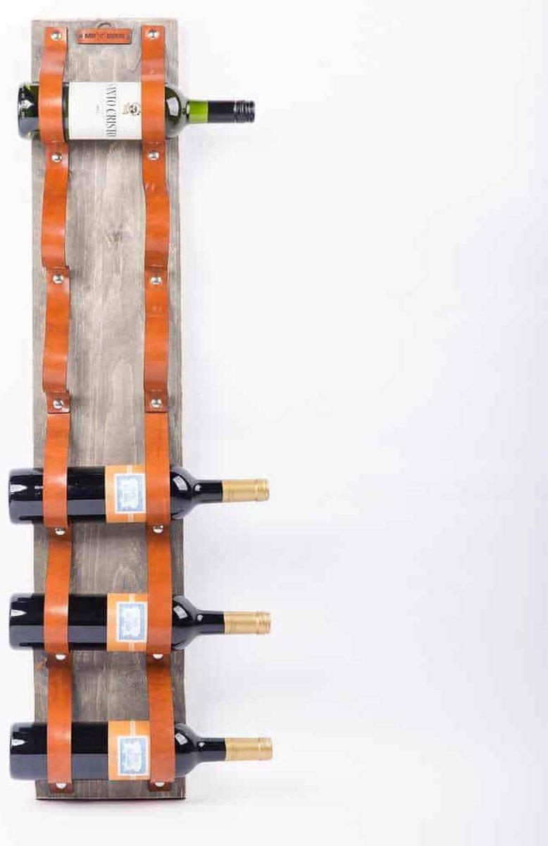 Mr Been   Leren Wijnrek New Jersey   Handgemaakt   Kleur Leder: Cognac   100cm Lang