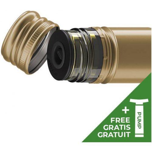 Nanostopper - Wijnafsluiter Vacuüm 6 stuks - Met vacuümpomp -Kunststof - Zwart
