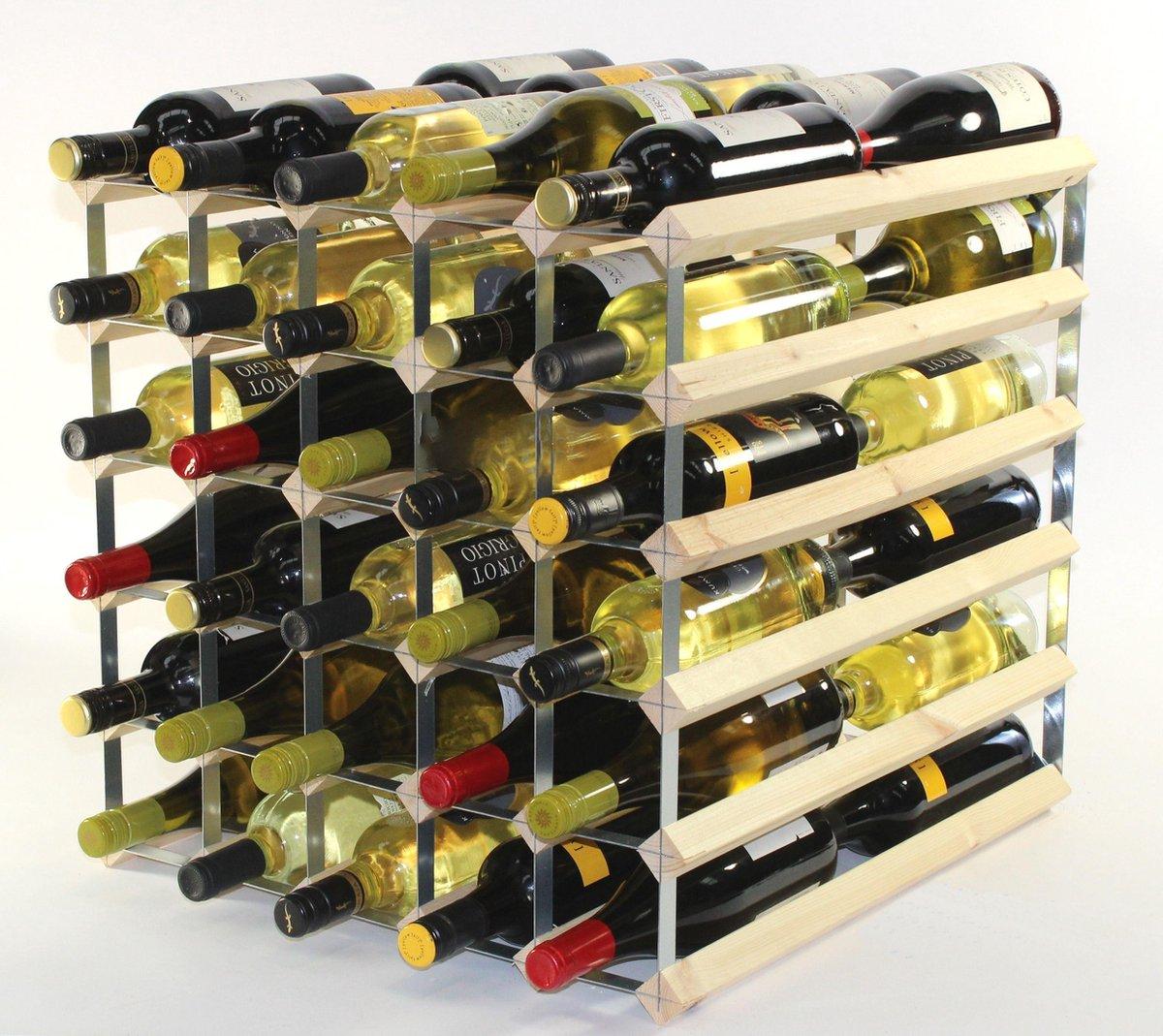 RTA Wijnrek blank hout 60 flessen dubbele diepte